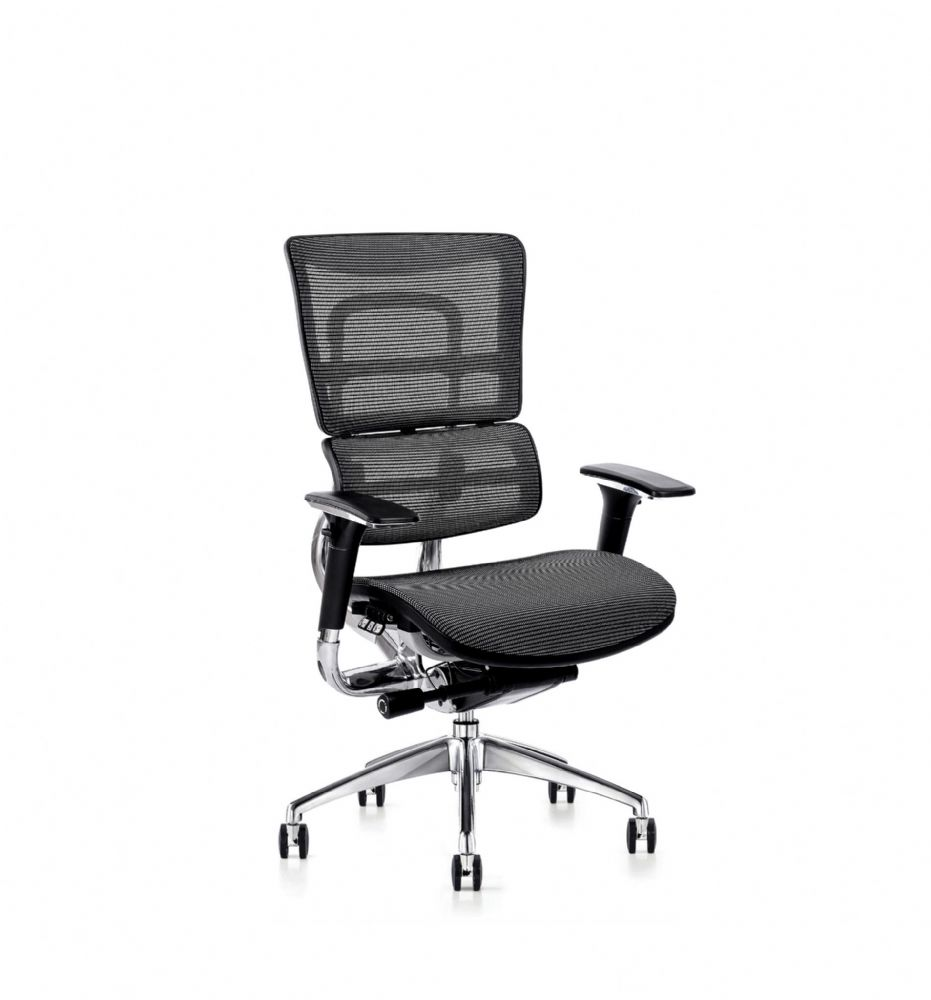 I29 Mesh Seat Chair By Hood Seating In Black With Stylish Chrome Spider Base On Castors